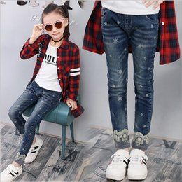 $enCountryForm.capitalKeyWord Australia - 2019 Autumn Snowflake Lace Girl Jeans Korean Children's Pants In The Big Children's Lace Slim Trousers
