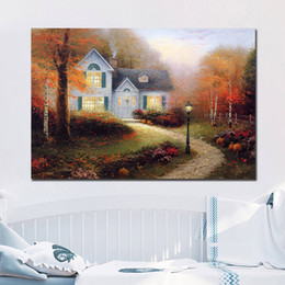 $enCountryForm.capitalKeyWord Canada - The Blessings of Autumn Beautiful Thomas Kinkade Canvas Painting Oil Print Poster Wall Art HD Picture for Living Room Home Decor