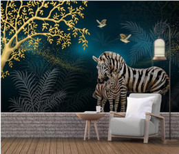 Golden Tree Painting Australia - modern wallpaper for living room Modern fashion light luxury hand-painted golden fortune tree zebra crystal diamond background wall