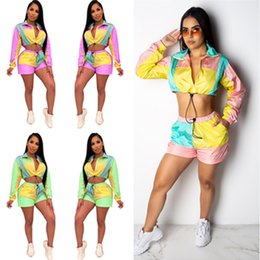 Art Canvas Prints Australia - Women Crop Zipper Top+ Shorts Set Summer Tracksuit Color Match Patchwork Long Sleeve Sun Protective Jacket Outfit 2 Piece Sportswear C435