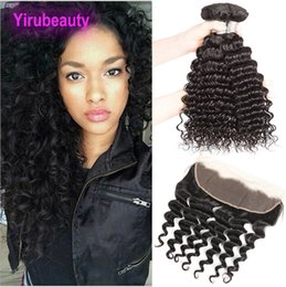 $enCountryForm.capitalKeyWord NZ - Ear To Ear Lace Frontal 13 X 4 With Bundles 4 Pieces lot Indian Human Hair Deep Wave Bundles With Lace Frontal Closure