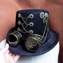 Steampunk Hats NZ - gears gears Handmade Retro Punk Unisex Party Black Hat  Vintage Steampunk Gear 8ad7dd5fd285