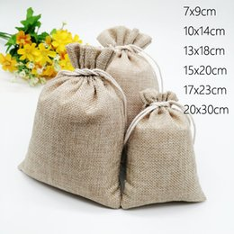 cheap gift boxes wholesale NZ - Cheap & Wrapping Supplies 10pcs Jute Linen Bags For Jewelry Display Drawstring Pouch Gift Box Packaging Bags For Gift Bag
