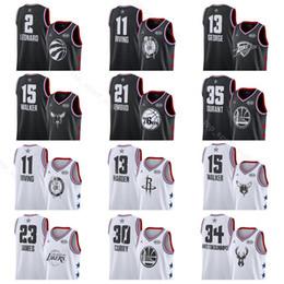ca052a619 All 2019 Star Basketball Jerseys All-Star Black White Stephen 30 curry  kevin Durant Joel 21 Embiid Kawhi Leonard 2 Paul 13 George