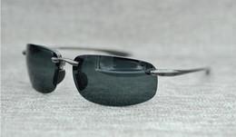 Orange beach sunglasses online shopping - Brand Designer Mcy Jim sunglasses High Quality Polarized Rimless lens men women driving Sunglasses with case