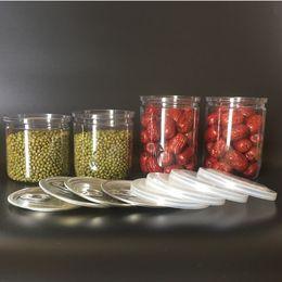 frasco de plástico transparente PET com tampa de metal Food Recipientes de armazenamento fácil abrir lata de plástico com frete grátis anel de tração em Promoção