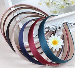 Headband Colored Hair Australia - 50pcs Colored Satin Covered Resin ribbon winding hair band Kids hair Accessories width :2 cm Basic head band for woman girl Lady FJ3125