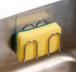Großhandel Neue Saugnapf Seife Trocknen Regale Rack Waschbecken Schwammhalter Metall Handtuchwäscher Faser Scheuerschwamm Abtropffläche Küche Veranstalter
