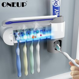 ONEUP Antibacteria UV Toothbrush Holder Automatic Toothpaste Dispenser Sterilize Home Cleaner Sterilize Bathroom Accessories Set T200506 on Sale
