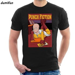 Wholesale cotton pulp online – design funny Punch Fiction One Punch Man Pulp Fiction Men s T Shirt harajuku streetwear men short sleeve o neck cotton shirt tees top