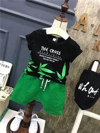Summer Sportswear Suit Australia - Baby Girls Clothing Boys Summer Cotton Leaves T-Shirt Tops + Shorts 2PCS Bebes Jogging Suit Newborn Sportswear Male Baby Set