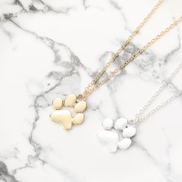 $enCountryForm.capitalKeyWord Australia - 30pcs lot Minimalist Animal Paw Charm Necklace Love Pet Footprint Pendant Link Chain Jewelry for Gift