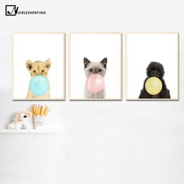Lion canvas print online shopping - Kawaii Animal Cat Lion Bubbles Poster Prints Wall Art Canvas Painting Nursery Wall Picture Kids Room Decor Nordic Decoration