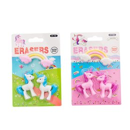 girls erasers Australia - 3pcs pack Cute Rainbow Pink Unicorn Shape Eraser Kawaii Stationery School Office Party Supplies Gift Girl Student Kids Gift