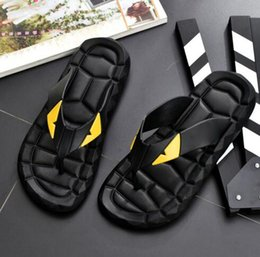 Summer Cartoon Sandals Australia - Cartoon style Flip Flops Sandals men Casual Shoes Designer Beach Indoor Flat Luxury male black sandals Summer Flat Slippery Sandals Slipper