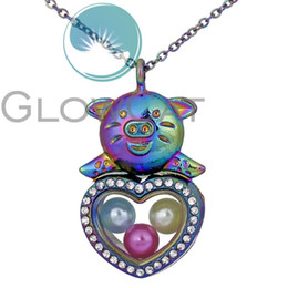 rhinestone pig pendant NZ - 2colors Rhinestone Heart Pig Living Memory Floating Locket Necklace 8mm Beads Pearl Cage Glass Photo Magnetic Pendant Necklace