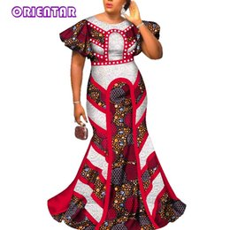 african wedding dresses bazin 2019 - 2018 Fashion Long Dresses For Womeno-neck Butterfly Sleeve Party Dress African Bazin Riche Femme Wedding Evening Dress W