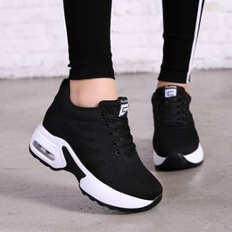 black platform court heels Australia - Hide Heel Fashion Sneakers Women Flying Knitting Casual Shoes Breathable Height Increasing Platform Sneakers White Shoes TT003 SH190928