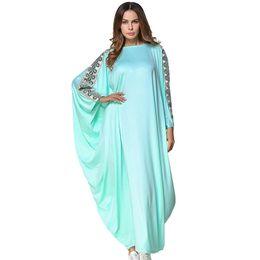 Muslim Women Bat Sleeve Abaya Kaftan Maxi Dress Dubai Embroidery Gown Loose Robe