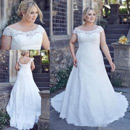 $enCountryForm.capitalKeyWord Australia - Country Full Lace Plus Size Wedding Dresses Cheap Custom Made Backless Short Sleeves Big Size Wedding Gown Bridal Dress Vestido De Novia
