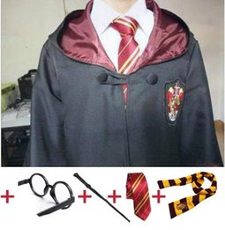 harry potter tie ravenclaw Canada - as Harry Potter Robe Cape with Tie Scarf Wand Glasses Ravenclaw Gryffindor Hufflepuff Slytherin Hermione Costumes Harris Costumes as