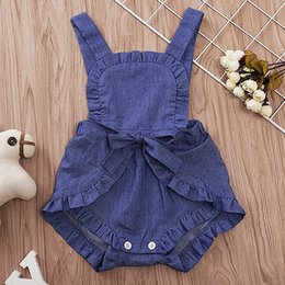 Wholesale Spandex Jumpsuits Australia - New Stylish Summer Toddler Baby Girls Rompers INS Ruffle Round Collar Blet Bow Denim Jumpsuit Kids Bodysuit Baby Romper 3-18M