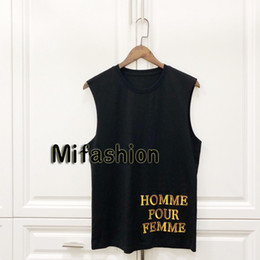 f13acddd 19ss Europe Italy Sequins Embroidery Sleeveless Tshirt Vest Fashion Men  Women High Quality Tank Top T Shirt Casual Cotton Tee