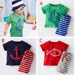 Baby Boy T Shirt Designs Australia - 3 Design Boy pirate ship fish stripe Suit new children cartoon Short sleeve T-shirt +shorts 2 pcs set Suit baby clothes B T0155