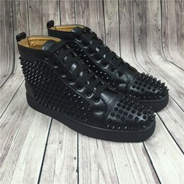 Name Brand Red Dresses Australia - Hot Sell Name Brand Red Sole Black Sneaker Shoe Man Casual Woman Fashion Rivets High Top Men Dress Party Cheap Sneaker Designer Shoes