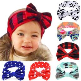 $enCountryForm.capitalKeyWord Australia - Infant Diy Headband Girls Plaid Dots Triangle Print Rabbit Ears Hairband 6styles Baby Turban With Bow Head Wrap Hair Accessories