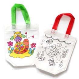 Diy Hand Bag Australia - Mix Wholesale 30 Pcs Draw Painting Educational Toy For Children DIY Environmental Protection Graffiti Bag Kindergarten Hand Materials