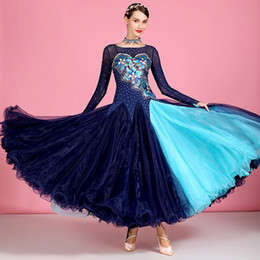 waltz costume for dancing Canada - 2020 style standard ballroom competition dance dresses waltz dress for ballroom dancing tango dance costume long sleeves sequins dress