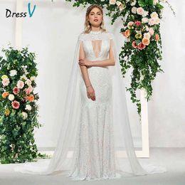 wholesale elegant lace high neck mermaid sleeveless button hollow wedding  dress floor length simple bridal gowns wedding dress 0abf268a4503