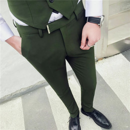 Army Green Suit Australia - High Quality Korea style Army Green Solid color wedding suit pants men casual pants men's Long Business suits trousers