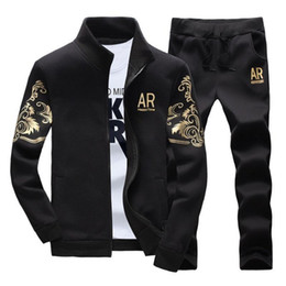$enCountryForm.capitalKeyWord Australia - Mens tracksuits outwear 2019 mens hoodie set 2 pieces spring autumn sports track suit men AR Embroidery jogging suits sweatshirts