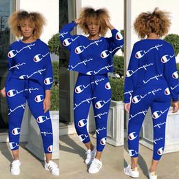 Moda Plus Size Campeão Marca Mulheres Treino Senhoras Luxus T Shirt Calças 2 Peça Set Treino Sportswear Mulheres Outfits Outono