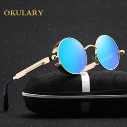 Pink Wooden Box Australia - 2019 New Round Women Mirror Sunglasses Black pink blue silver Color Stainless Steel Uv400 Glasse Frame With Box Y19052001
