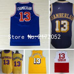 8f3aedf15076 Los hombres   13 Wilt Chamberlain Jersey Retro Baloncesto Jerseys Wilt  Chamberlain camisa Vintage azul púrpura amarillo blanco Ncaa