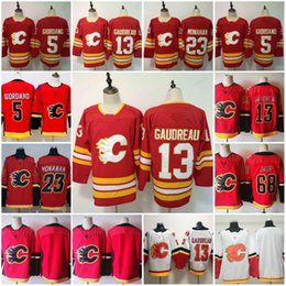 cheap flash cotton NZ - 2019 New Style Calgary Flames 13 Johnny Gaudreau 5 Mark Giordano 68 Jaromir Jagr 23 Sean Monahan Cheap Stiched Red White Home Hockey Jerseys