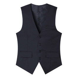 Chinese  New high-quality goods High-end wedding dress and groom pure color suit vest Men Black grey slim business suits vest Male manufacturers