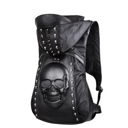 $enCountryForm.capitalKeyWord Australia - 2019 Hot Sell Skull Leather Backpack Rivets Skull Backpack with Hood Black Punk Backpack