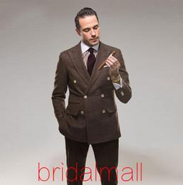 Custom Tweed Suit Australia - Brown Tweed Wedding Mens Suits Double Breasted Custom Groom Tuxedos Terno Best Man Business Suit 2 Pieces Male Blazer(Jacket+Pants)