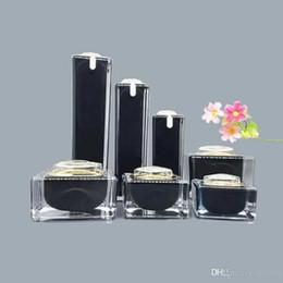 Acrylic Eye Cream Jar Australia - Square Black Acrylic Lotion Cream Cosmetic Bottles Luxury Skin Care Cream Jar , Acrylic Lotion Pump Container ,Acrylic Pot