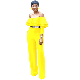 One Sleeve Ruffle Jumpsuit UK - One-Shoulder Ruffle Jumpsuits Long Pants One-piece Jumpsuits Womens Fashion Spring Clothing Long Sleeve Yellow Sexy Jumpsuits