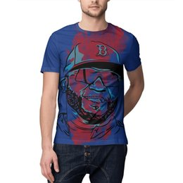 Hollow Pipe UK - Mens Tee David Ortiz Boston blue Hemline Pattern Print T-Shirts white Crewneck Short Sleeves Cotton Tops