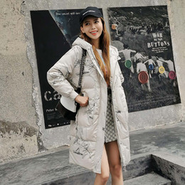 duck paintings NZ - Fashion Graffiti Hooded Long Down jacket High quality Cold-proof Keep warm Puffer jacket 90% White duck down Thick