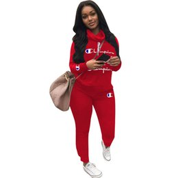 Wholesale women tracksuits hoodie for sale – designer Champion Letter Designer Tracksuits Piece Women Long Sleeve Outfits Heaps Collar Hoodies with Track Pants Leggings Sports Suit A7301