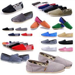 womens yellow canvas shoes NZ - Hot Fashion Women and Men Sneakers Canvas Shoes loafers Flats Espadrilles tom for womens Canvas shoes Size 35-45