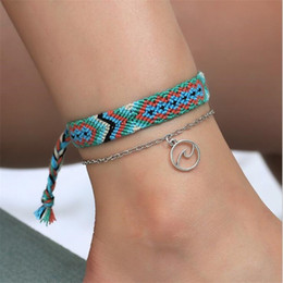 Runes jewelRy online shopping - Vintage OM Rune Weave Anklets For Women New Handmade Cotton Anklet Bracelets Female Beach Foot Jewelry Gifts Set