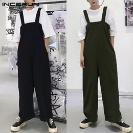 Wide Legs Jumpsuits Australia - Brand Male Jumpsuits Cargo Baggy Jumpsuits Male Baggy Playsuits Men Wide Legs Pants Loose Overall Coveralls Big Fashion Rompers